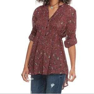 NWT American Rag Pintuck Floral Tunic